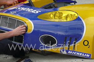 Polyurethane adhesive tape put on the racing cars during the 24 hours race in Le mans (france)